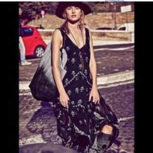 free people one flowey black blue maxi dress